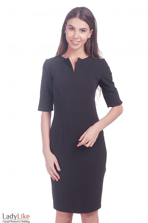 Фото Платье с разрезом на рукаве черное Деловая женская одежда