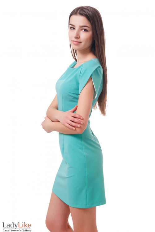 Фото Платье с рукавом тюльпан бирюзовое Деловая женская одежда