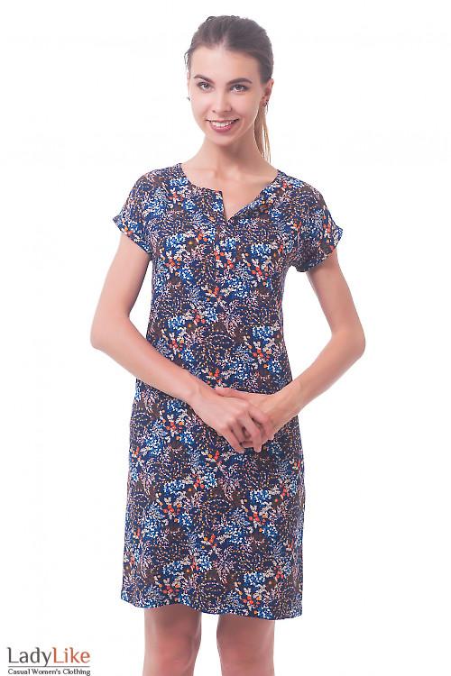 Платье синее в оранжевый цветочек Деловая женская одежда