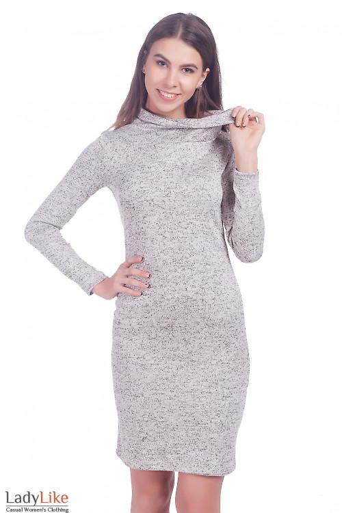 Фото Платье теплое трикотажное светло-серое Деловая женская одежда