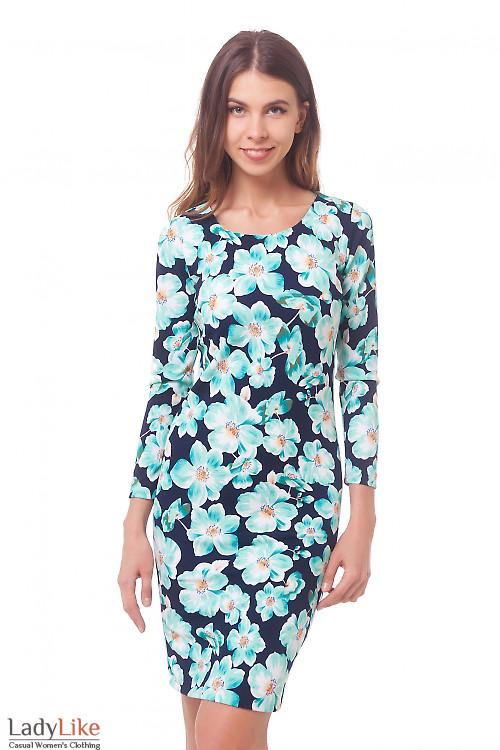 Платье в бирюзовые цветы Деловая женская одежда
