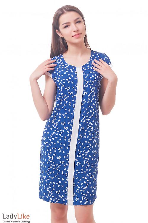 Синее платье в белые бабочки Деловая женская одежда