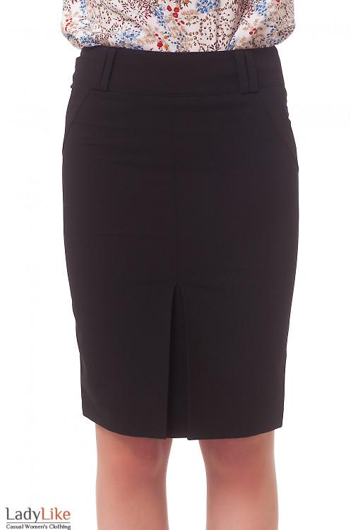 Юбка черная со встречной складкой Деловая женская одежда