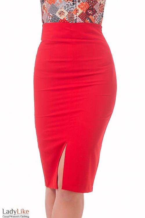 Фото Юбка с высокой талией красная удлиненная Деловая женская одежда