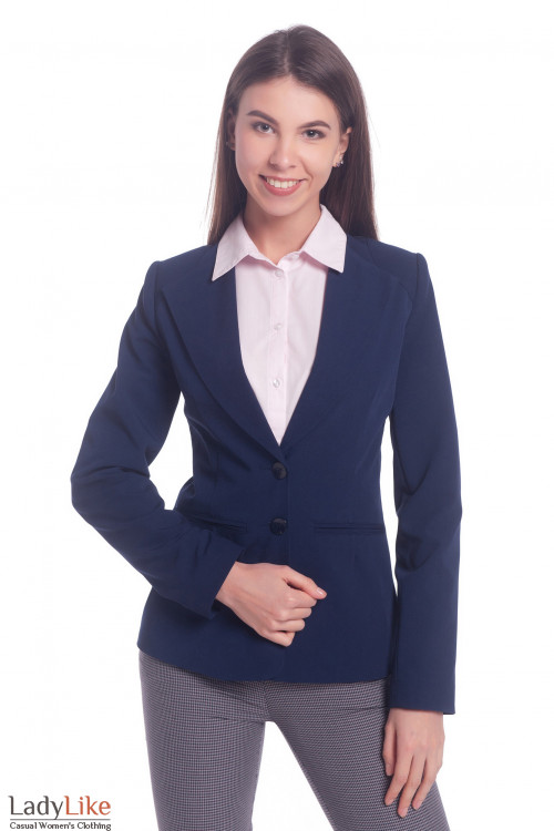 Жакет синий с латкой на плече. Деловая женская одежда