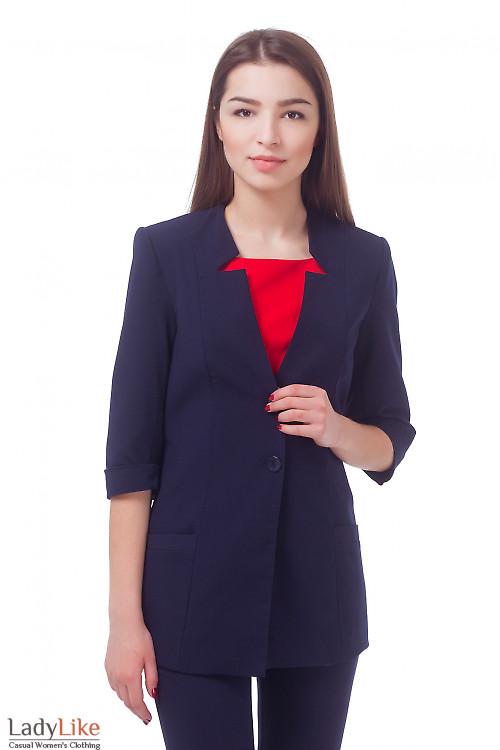 Жакет синий удлиненный с коротким рукавом Деловая женская одежда