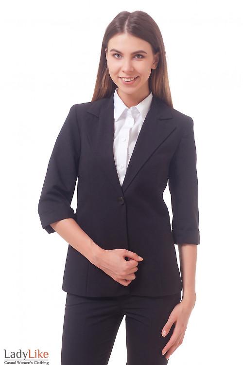Фото Жакет удлиненный с коротким рукавом черный Деловая женская одежда