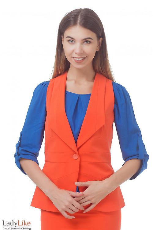Жилет удлиненный оранжевый Деловая женская одежда