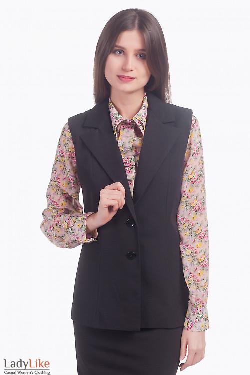 Фото Жилетка черная удлиненная с воротником Деловая женская одежда