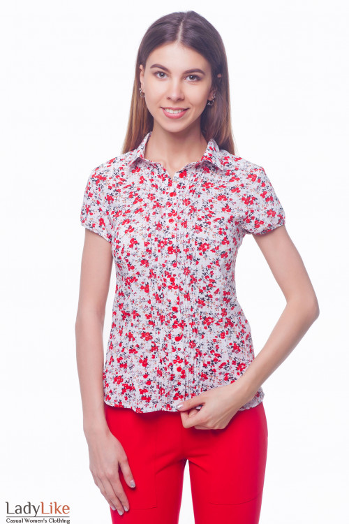 Блузка белая в красные маки Деловая женская одежда