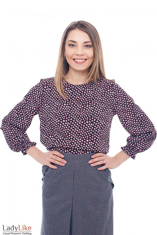 Блузка бордовая с резинкой на рукавах Деловая женская одежда фото