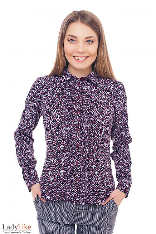 Блузка бордовая в ромбики Деловая женская одежда фото