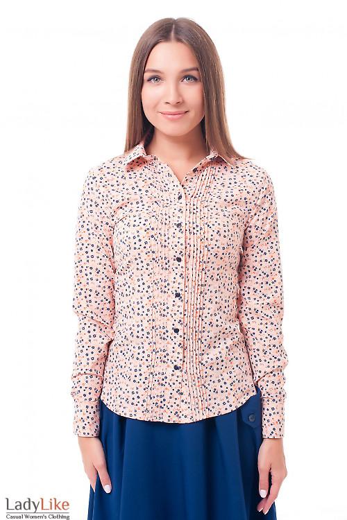 Блузка персиковая с защипами Деловая женская одежда фото