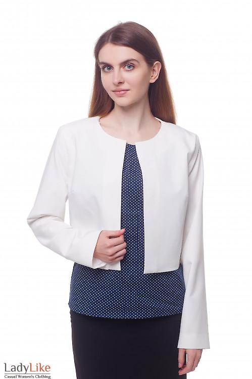 Кардиган белый короткий Деловая женская одежда фото