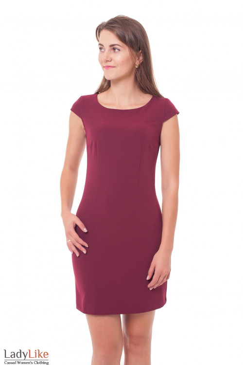 Платье-футляр бордовое Деловая женская одежда фото