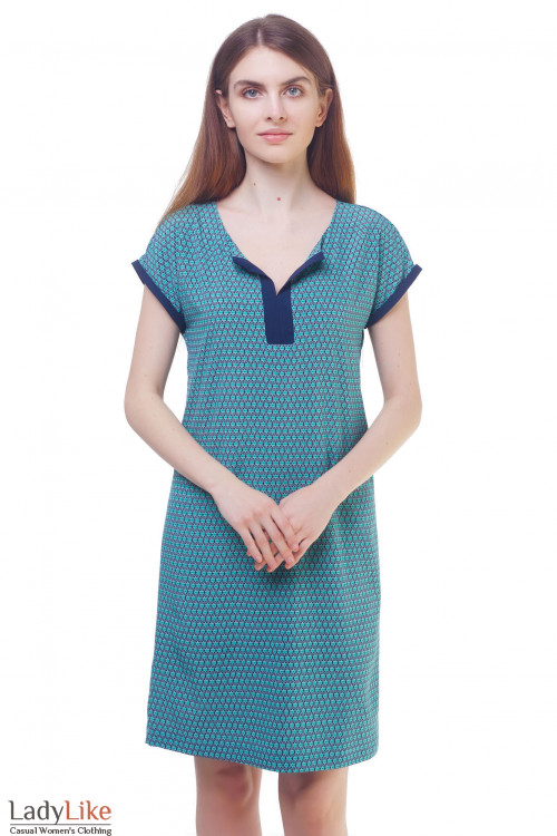 Платье бирюзовое с синей отделкой на рукавах Деловая женская одежда