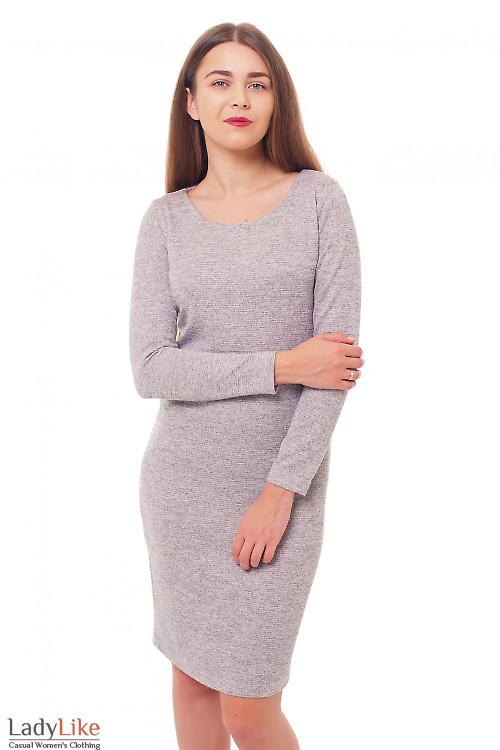 Платье серое теплое Деловая женская одежда фото