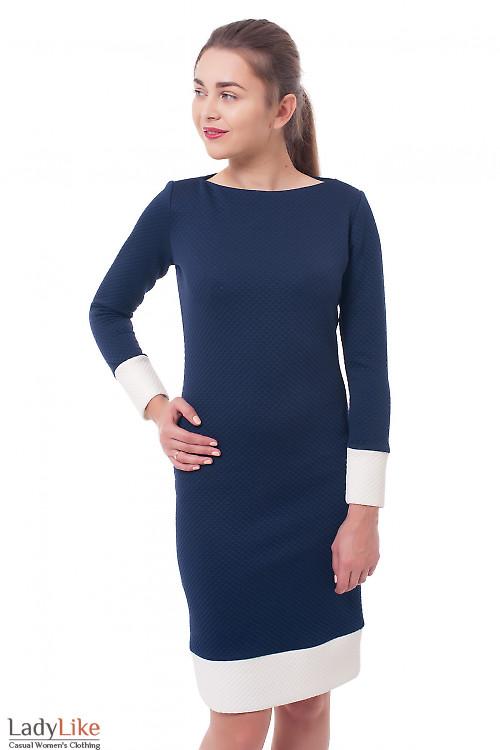 Платье синее с белыми манжетами Деловая женская одежда фото