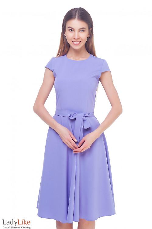 Платье сиреневое пышное Деловая женская одежда