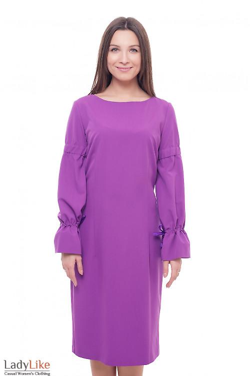 Платье сиреневое с лентой в рукавах Деловая женская одежда фото