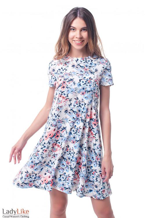 Платье трапеция в голубые розы Деловая женская одежда фото