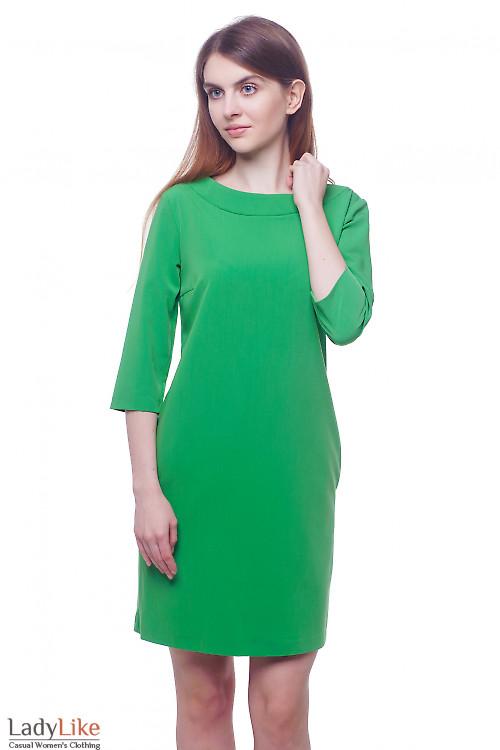 Платье зеленое с круглой горловиной Деловая женская одежда фото