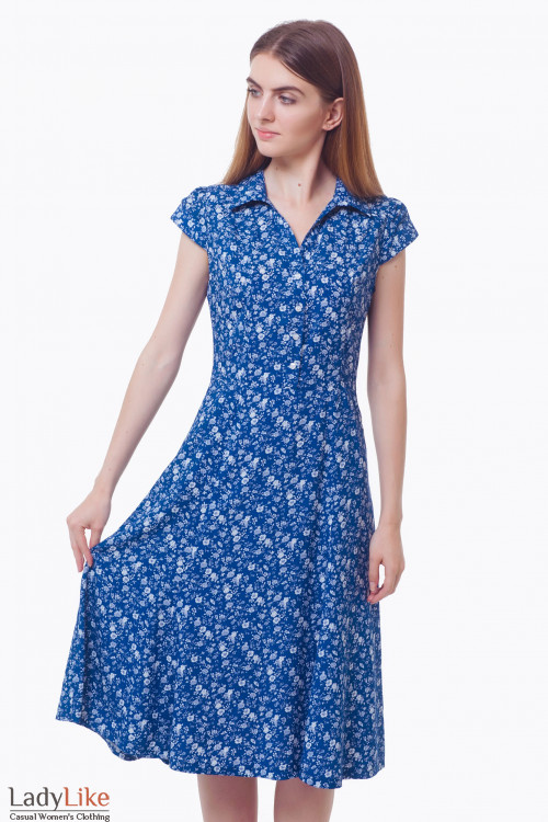 Синее платье в белый цветок с воротником. Деловая женская одежда
