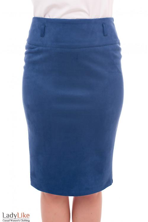 Юбка теплая из синего замша Деловая женская одежда фото