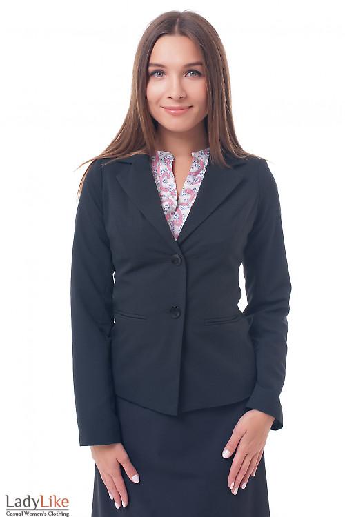 Жакет черный на двух пуговицах Деловая женская одежда фото