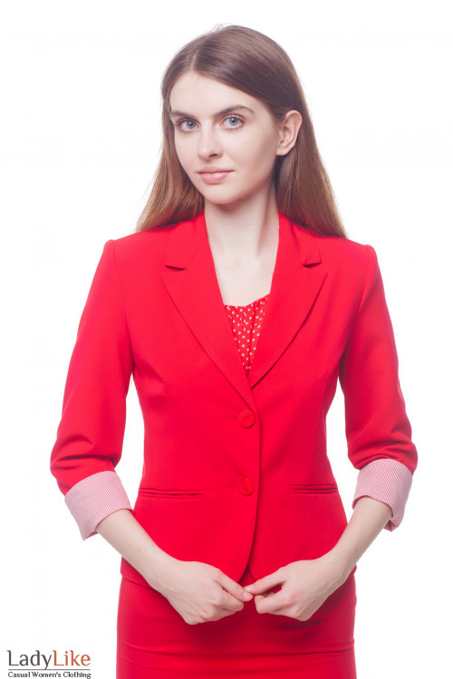 Жакет красный с манжетой в полоску Деловая женская одежда фото