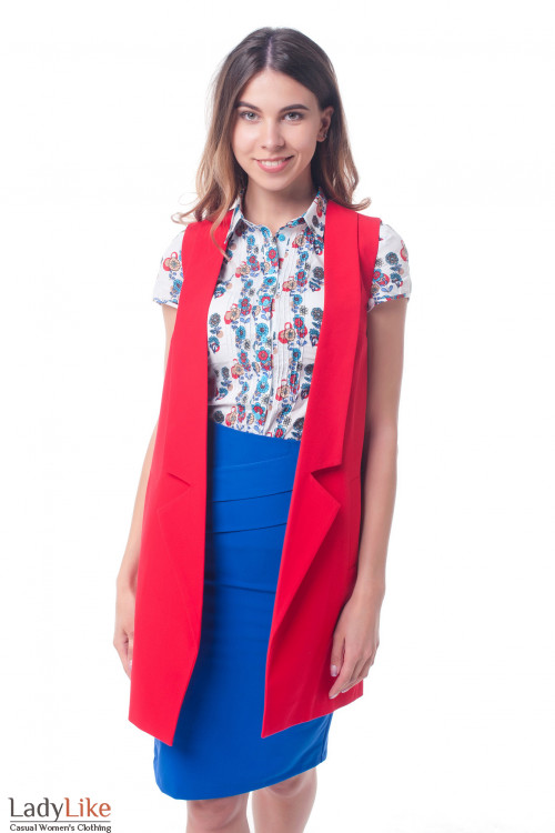 Жилет красный женский удлиненный Деловая женская одежда фото