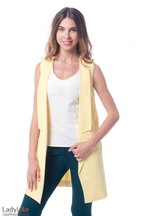 Жилет желтый женский удлиненный Деловая женская одежда фото