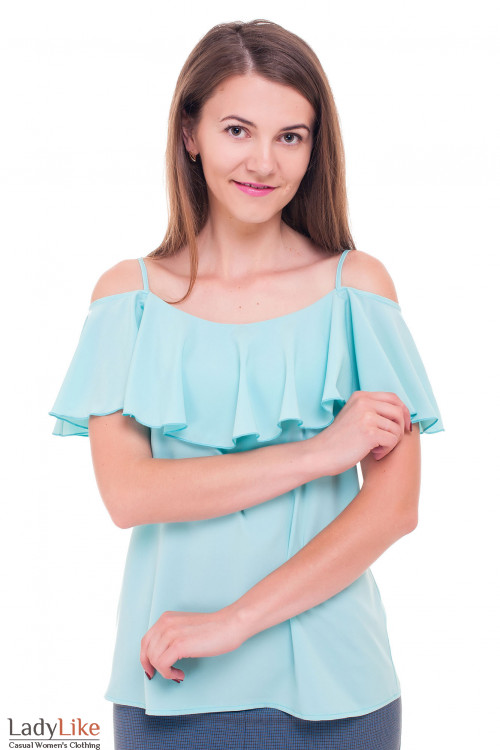 Блуза бирюзовая с широким воланом Деловая женская одежда фото
