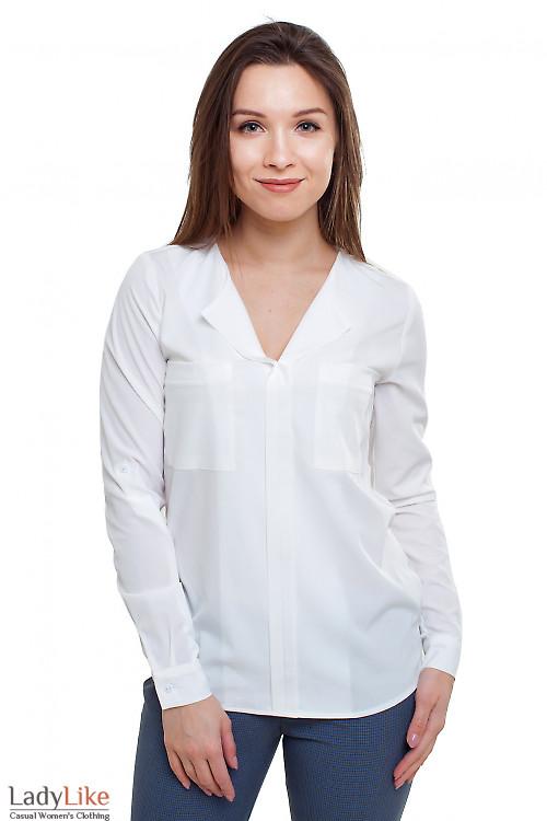 Блузка молочная из вискозы Деловая женская одежда фото