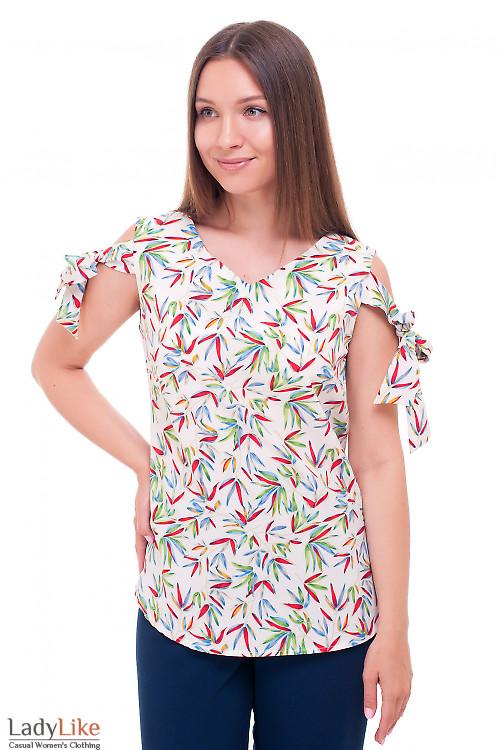 Блузка разноцветная с завязками на плечах Деловая женская одежда фото