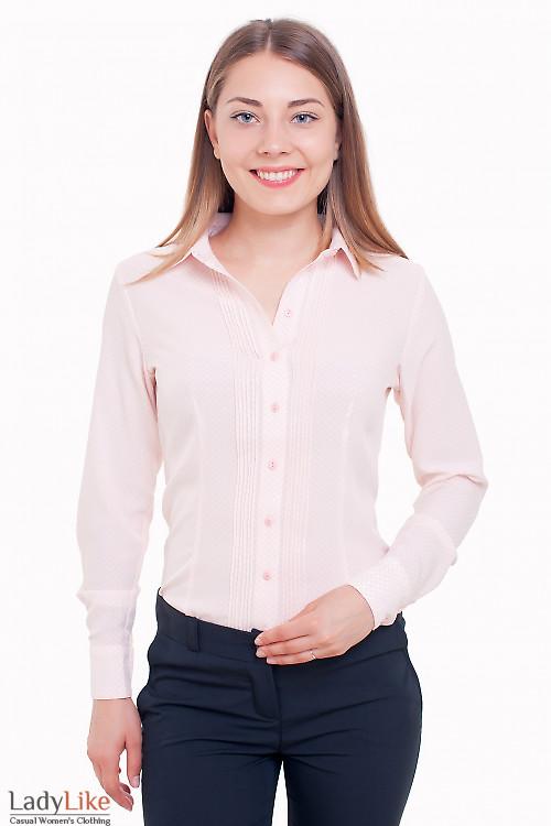 Блузка с защипами нежно-розовая Деловая женская одежда фото