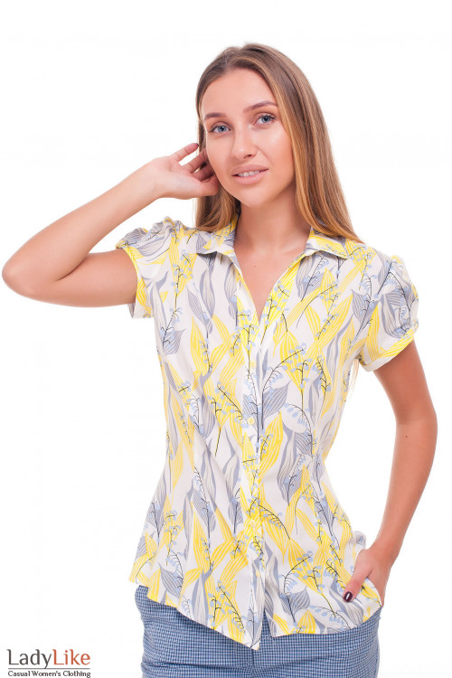Блузка в серые ландыши Деловая женская одежда фото