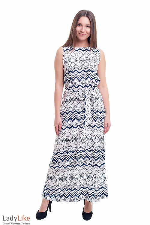 Длинное платье с поясом Деловая женская одежда фото