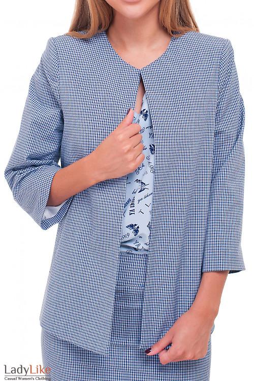 Кардиган короткий в синюю клеточку Деловая женская одежда фото