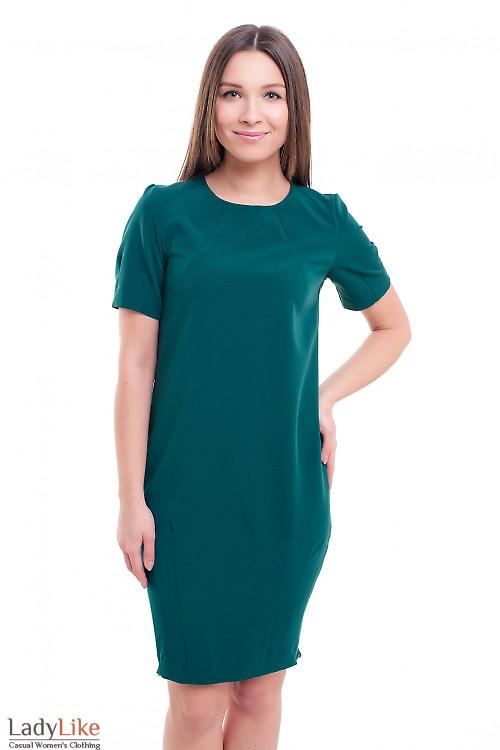 Платье-футляр с защипами на юбке Деловая женская одежда фото