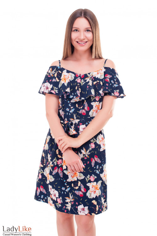 Платье летнее с широким воланом Деловая женская одежда фото