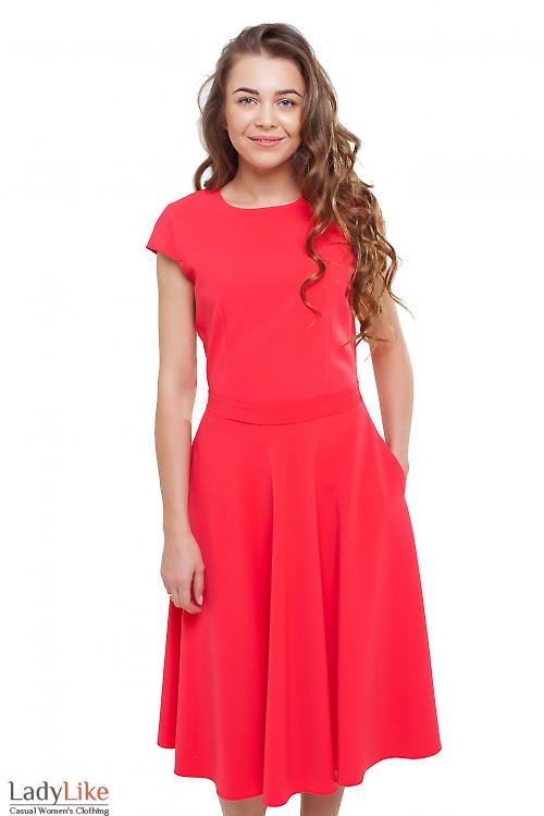Платье пышное с коротким рукавом красное Деловая женская одежда фото