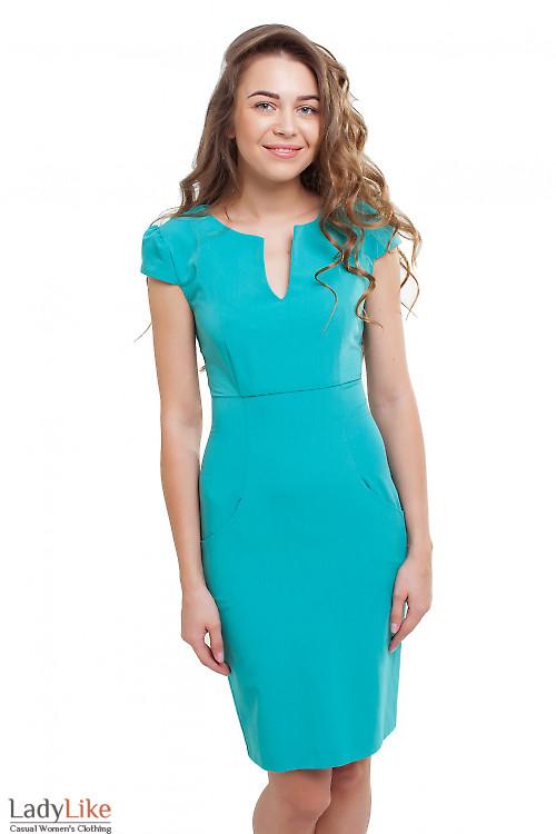Платье с карманами бирюзовое Деловая женская одежда фото