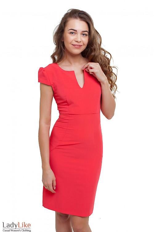 Платье с карманами коралловое Деловая женская одежда фото