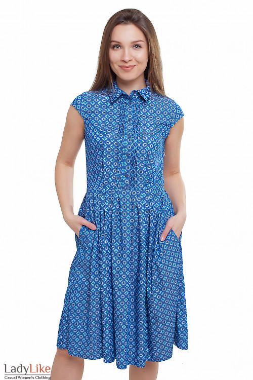 Платье синее в голубой цветочек Деловая женская одежда фото