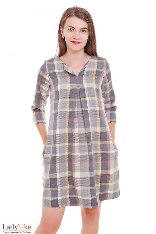 Платье со складочкой на груди в клетку Деловая женская одежда фото