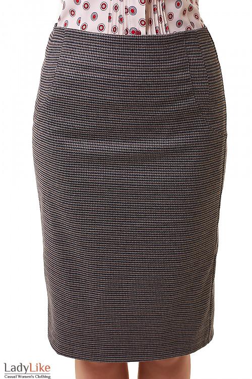 Юбка-карандаш в коричнево-серую лапку Деловая женская одежда фото