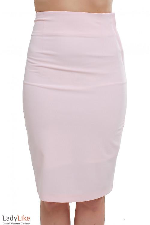 Юбка розовая с молнией сбоку Деловая женская одежда фото