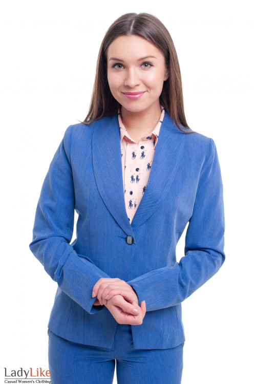 Жакет синий удлиненный под джинс Деловая женская одежда фото