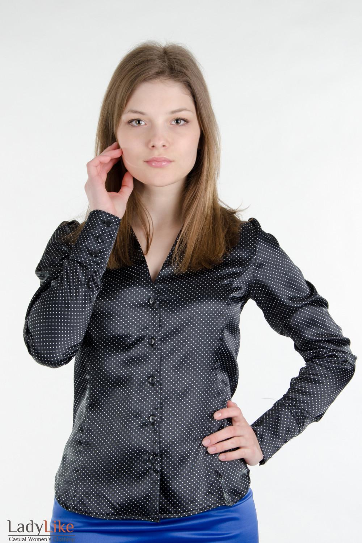 Блуза черная в мелкий горошек Деловая женская одежда
